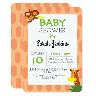 Frisbee Jungle Coral Baby Shower 3x5 Invitation