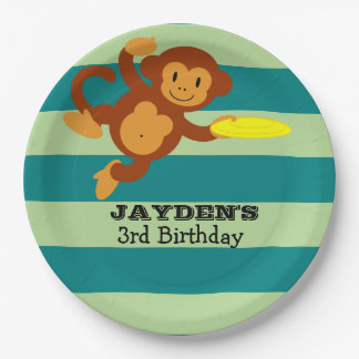 Frisbee Jungle Monkey Personalized Paper Plate
