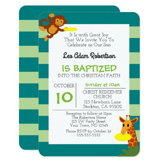 Frisbee Jungle Monkey Personalized Small Baptism Card