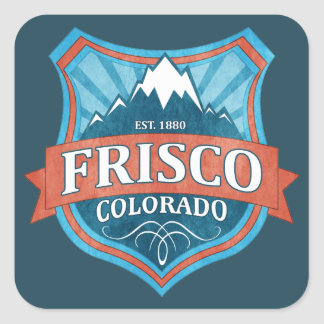 Frisco Colorado teal shield square stickers
