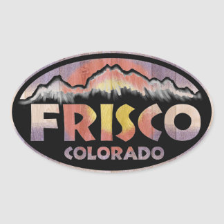 Frisco Colorado wooden flag oval stickers