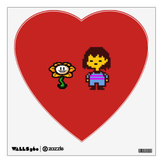 Frisk and Flowey Heart Wall Sticker