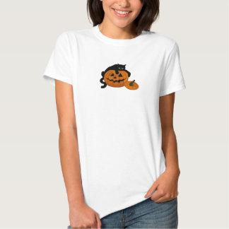 Frisky Black Cat on Jack-O'-Lantern shirt