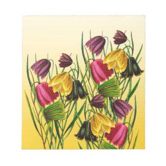 Fritillaria Flowers On Yellow Notepad
