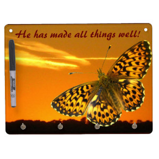 Fritillary and sunset dry erase board with keychain holder