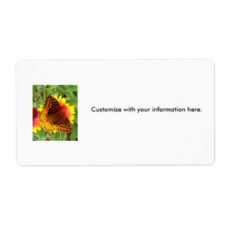 Fritillary Butterfly on Gaillardia Shipping Label