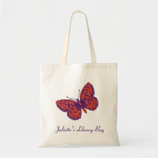 Fritillary butterfly purple & orange library bag
