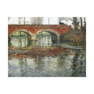 Frits Thaulow French River Landscape Stone Bridge Canvas Print