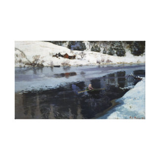 Frits Thaulow Winter at the River Simoa Canvas Print