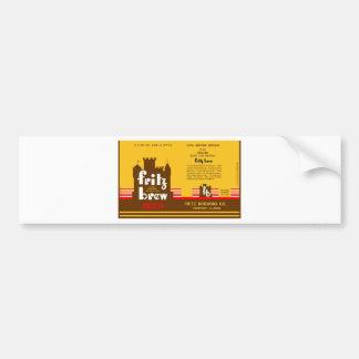 FRITZ BREW CONE TOP BEER CAN DESIGN FREEPORT ILL BUMPER STICKER