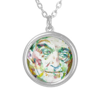 FRITZ LANG - watercolor portrait.1 Silver Plated Necklace