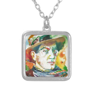 FRITZ LANG - watercolor portrait.2 Silver Plated Necklace