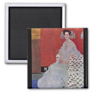 Fritza Reidler Klimt by Gustav Klimt Square Magnet