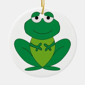 Frog 1 round ceramic ornament