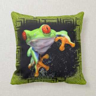 Frog 3 Bordered Pillow Options