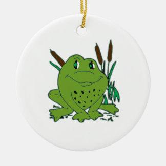 Frog 3 round ceramic ornament