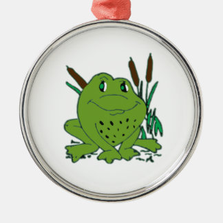 Frog 3 Silver-Colored round ornament