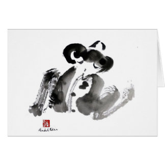 Frog, a traditional Sumi-e Ink Painting Card