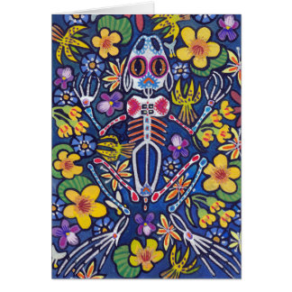 Frog among flowers card