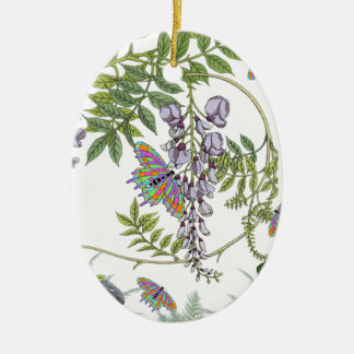 FROG AND BUTTERFLIES CERAMIC ORNAMENT