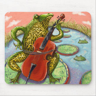 frog and cello mouse pad