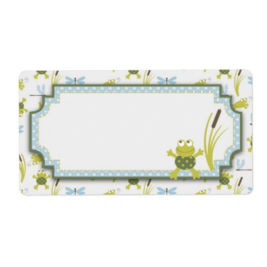 Frog and Dragonfly Baby Shower Shipping Label