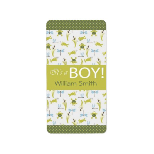 Frog and Dragonfly Mini Hershey Bar Label
