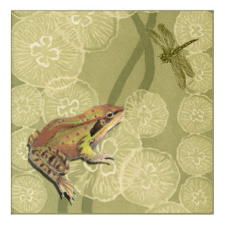 Frog and Dragonfly on Water Lilies Acrylic Wall Art