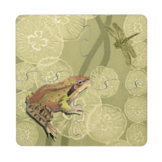 Frog and Dragonfly on Water Lilies Puzzle Coaster