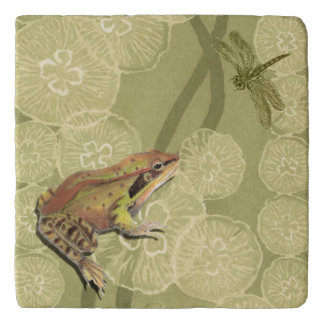 Frog and Dragonfly on Water Lilies Trivet