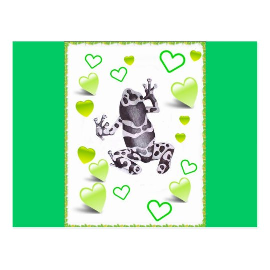 frog and hearts postcard