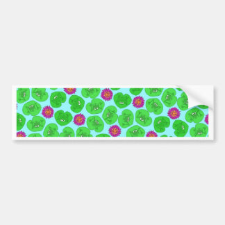 Frog and lily bumper sticker