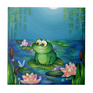 Frog and Lily Pond Ceramic Tiles