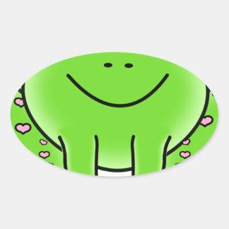 frog art inspiration green design oval sticker