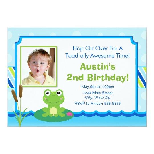 Frog Birthday Invitation 5x7 Toad Invite