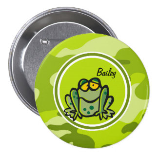 Frog bright green camo camouflage pinback button