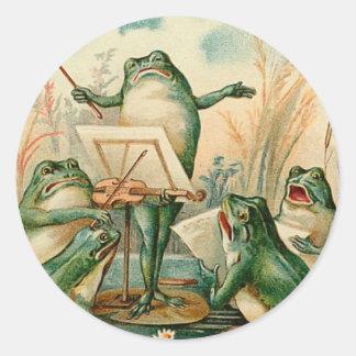 Frog Chorus Vintage Illustration Classic Round Sticker
