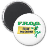 FROG CHRISTIAN ACRONYM FULLY RELY ON GOD REFRIGERATOR MAGNETS