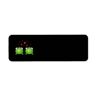 Frog Couple with hearts. Return Address Label