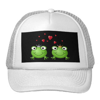Frog Couple with hearts. Trucker Hat