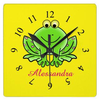 Frog cute animal baby room nursery square wall clock