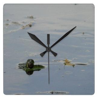 Frog Eyes Peeking Up Above Water Clock