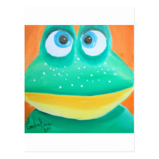 Frog face cute illustration picture postcard