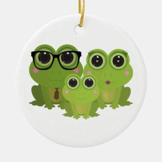 Frog Family Ceramic Ornament