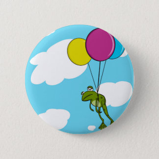 Frog Floating With Balloons 2 Inch Round Button