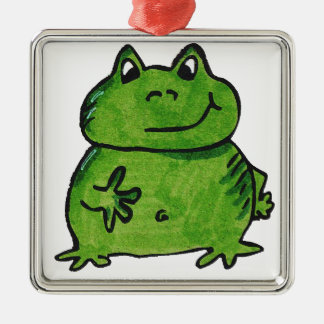 Frog Frog Silver-Colored Square Ornament