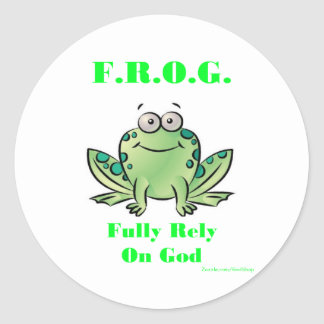 FROG (Fully Rely on God) Classic Round Sticker