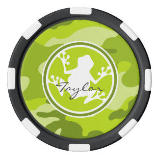 Frog;  green camo, camouflage set of poker chips