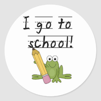 Frog I Go To School Tshirts and Gifts Classic Round Sticker