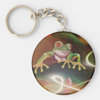 Frog in a Bubble Basic Round Button Keychain